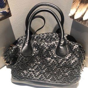 Deux Lux woven Black  leather Bag